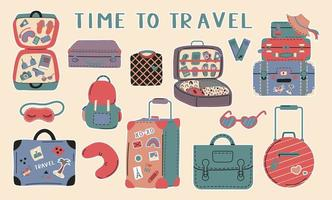 Set of Various Luggage Bags Suitcases vector