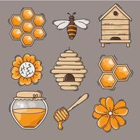 Cute honey and bees icon collection vector