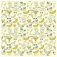 Hand Drawn Kids and Yellow Banana Pattern