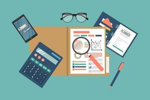 proceso de datos de análisis fiscal vector
