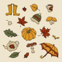 Set of autumn and fall items vector