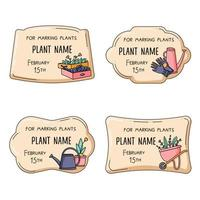 Plant label set for gardening and growing