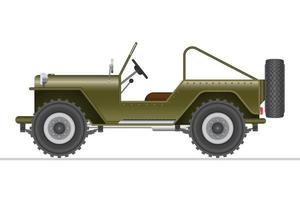 Green military off road car isolated