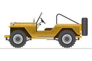 Coche todoterreno militar amarillo aislado vector