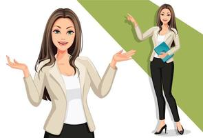 Stylish businesswomen in a presentation pose set