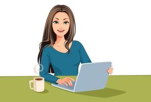 mujer usando una laptop vector