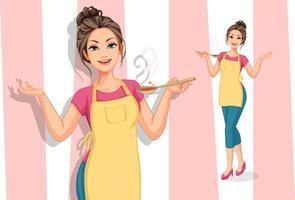 mujer vistiendo un delantal y sosteniendo una cuchara grande vector