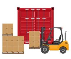 Yellow forklift loading cargo container