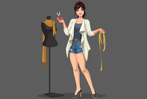 diseñador de moda con maniquí vector