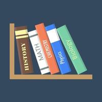 Books on a shelf on black background vector