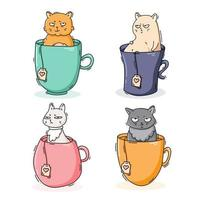 colección de gatos en tazas de té vector