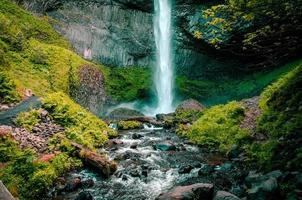 Waterfall on rocks photo