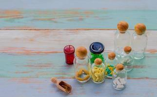 Medicine on rustic wooden table