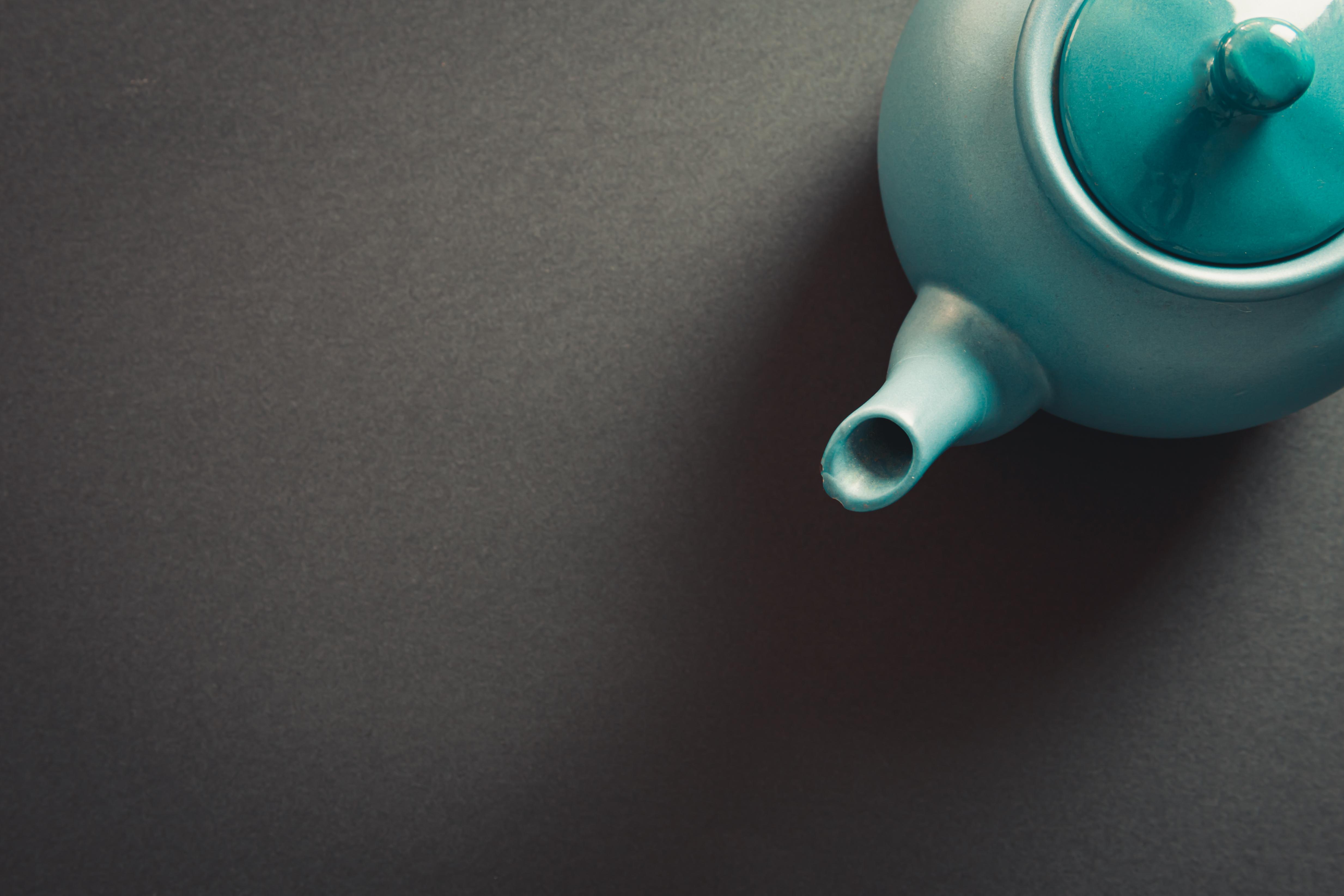 A blue vintage teapot