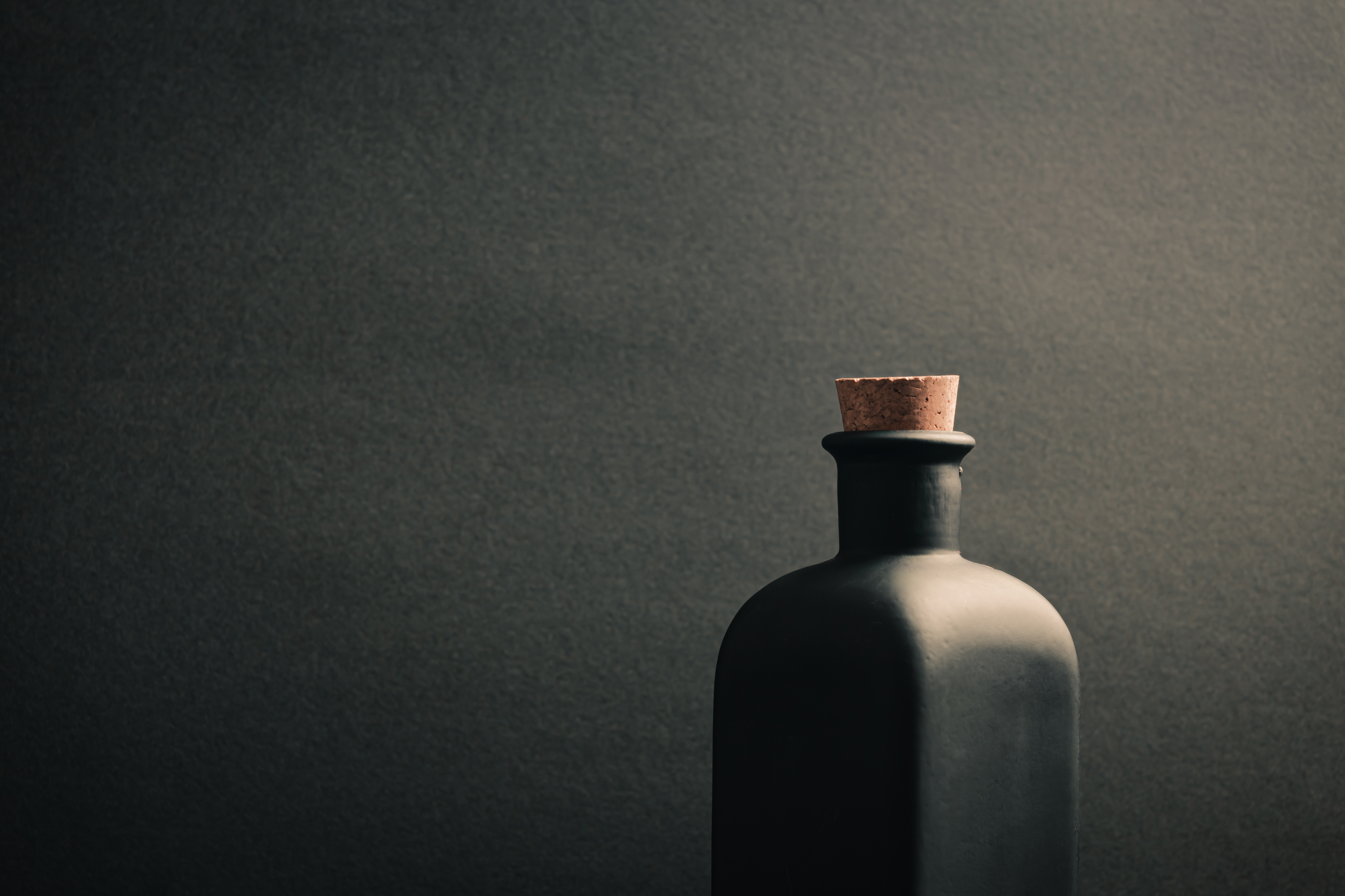 Black ceramic bottle