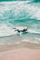 Aerial view of blue waves photo
