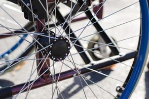 Spokes on the wheel of a wheelchair