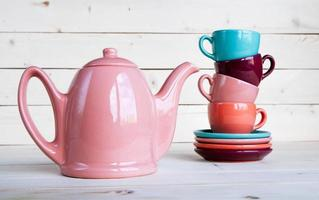 teapot and cup on a wooden tray