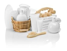 wooden and plastic objects for bathing