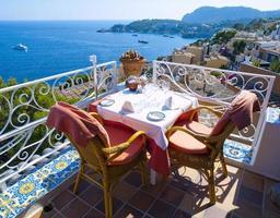 Restaurant balcony in Mallorca photo