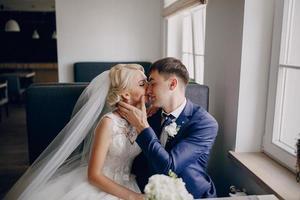 wedding couple in cafe photo