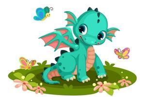 Cute green baby dragon with butterflies
