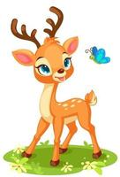 Cute baby deer looking at a butterfly vector