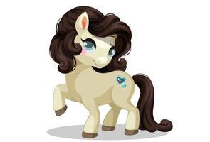 lindo pony beige de pie vector