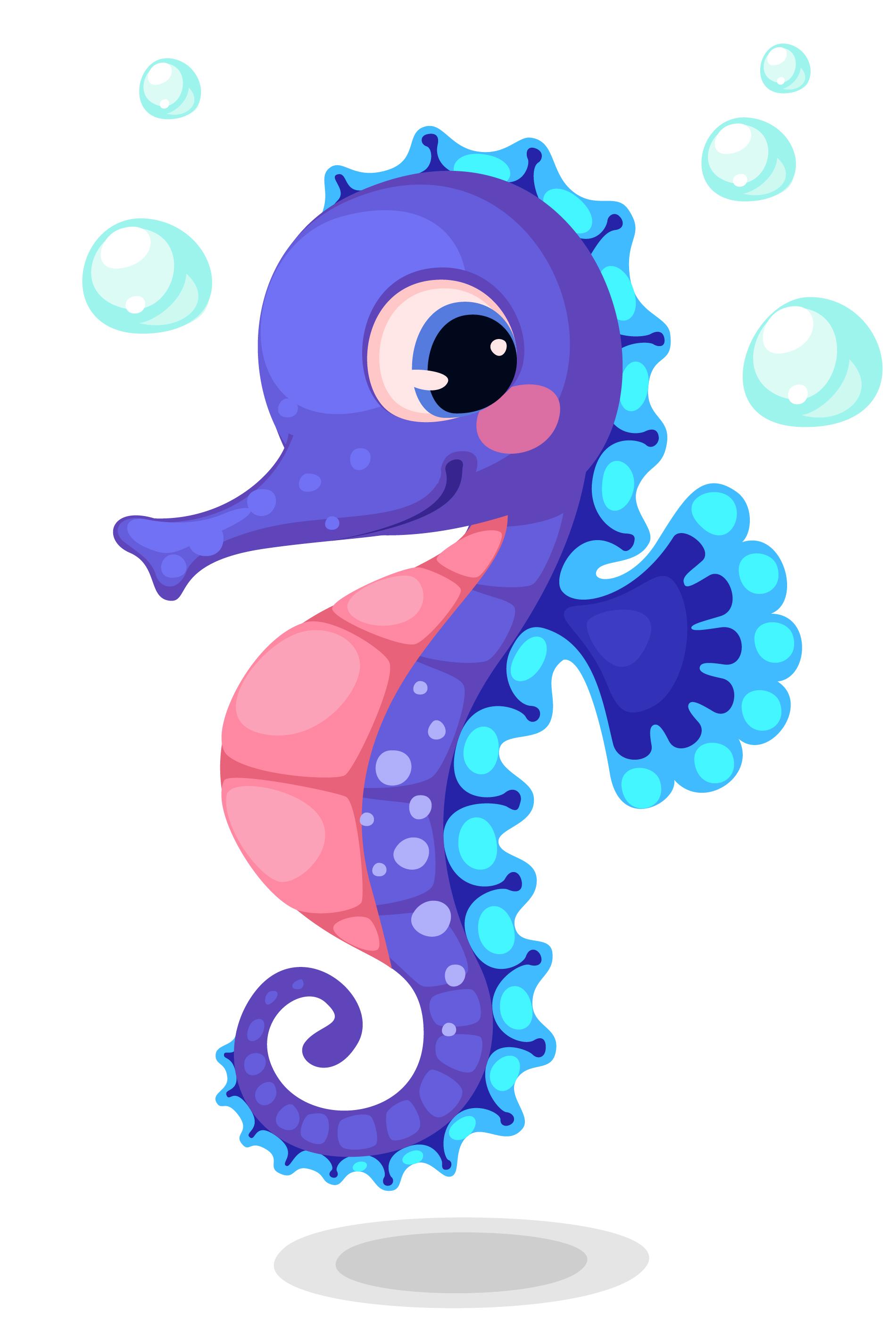 Cute Blue Seahorse Cartoon Download Free Vectors Clipart Graphics Vector Art