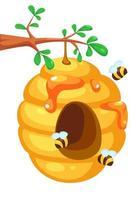 linda colmena de abejas en el árbol