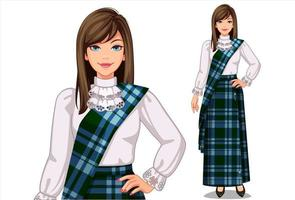 Woman in traditional Scottish clothing vector