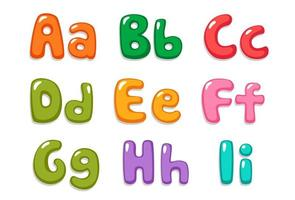 Bubbly font in candy colors, part 1 vector