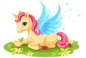 Cute fantasy baby unicorn vector