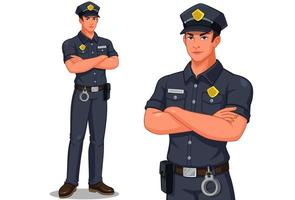 Male police officer standing set vector