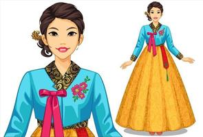 Woman in a traditional cultural clothing set vector