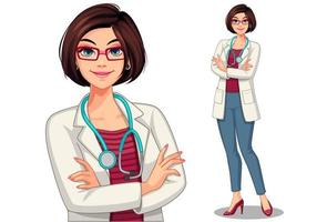 Female doctor with crossed arms set vector