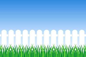 Background of green grass and fence  vector