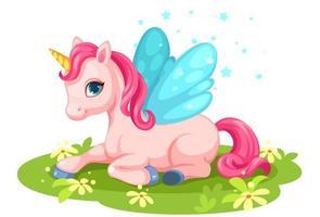 Cute, fantasy, baby pink unicorn vector