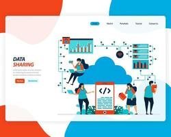 Data sharing technology landing page  vector