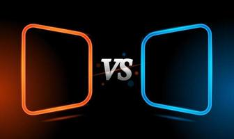 Versus red and blue neon light frame template background vector