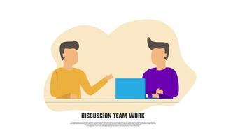 Discussion team work flat design concept