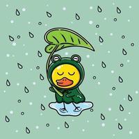 pato en poncho de rana bajo la lluvia vector