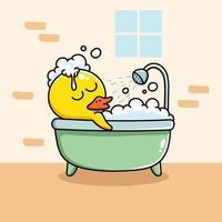 canard jaune dans un bain moussant vecteur