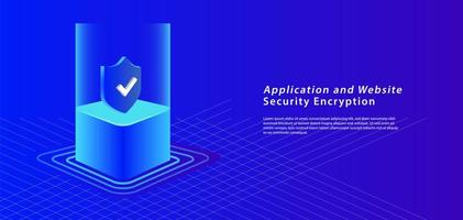 3D Isometric Security Banner on Blue vector