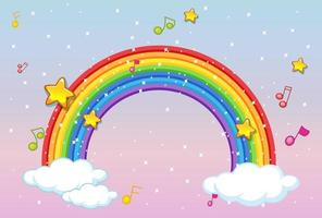 Rainbow with music theme and glitter on pastel sky background vector