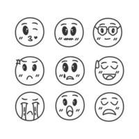 ícones de rosto desenhado à mão definidos em branco