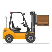 Forklift truck with box isolated vector