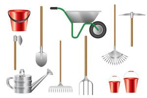 Collection of gardening tools isolated vector