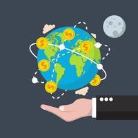 concepto de economía global en estilo plano vector
