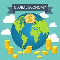 concepto de economía global con monedas vector